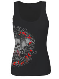 Womens black vest vampires rock