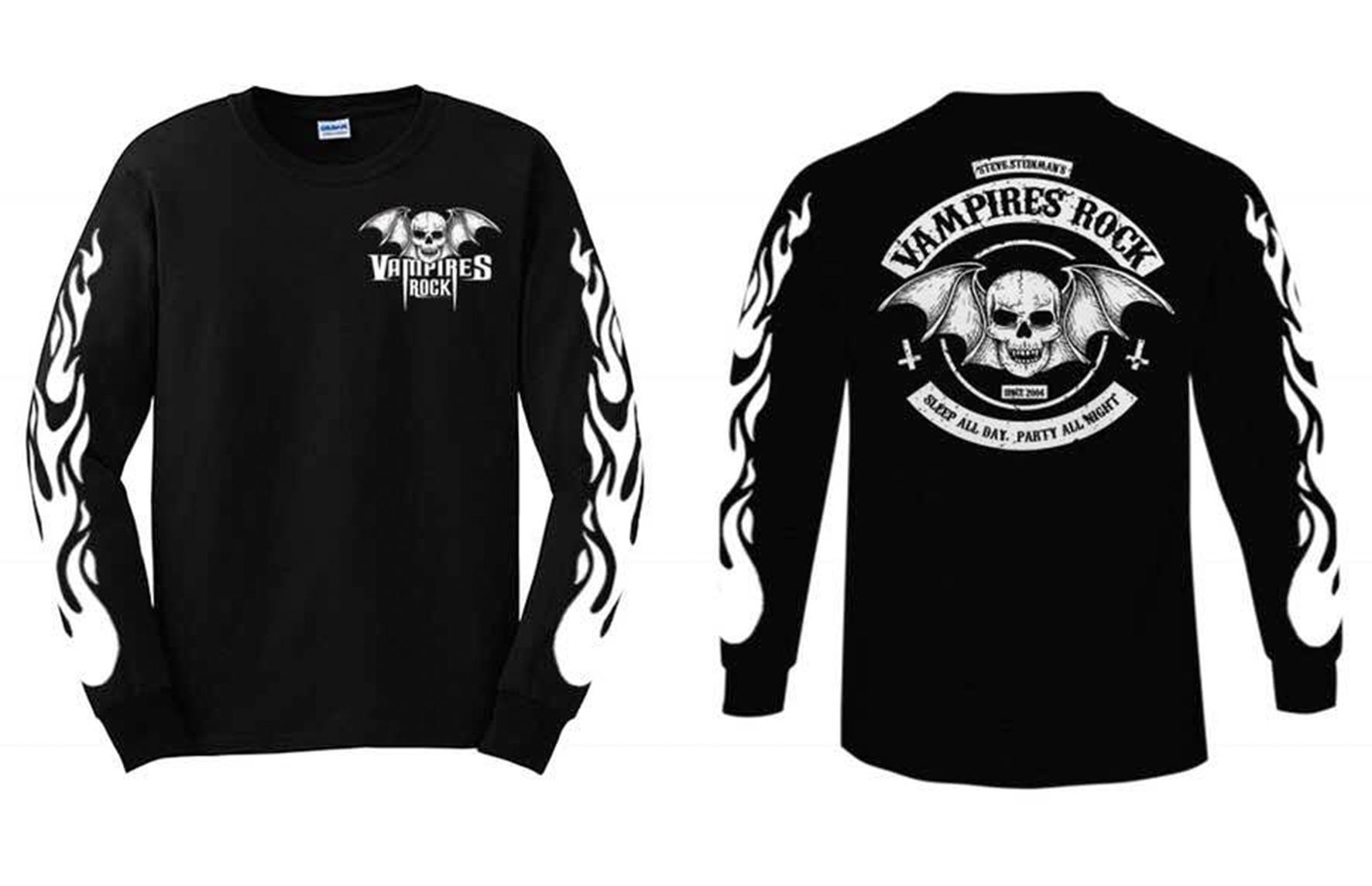 pretty nice 3cf45 5b7bf Vampires Rock Biker Long Sleeved T-Shirt